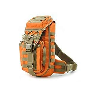 ZRWJ Tactical Backpack, Male Camouflage Tactical Assault Riding Backpack, Outdoor Sports Shoulder Messenger Bag, Khaki (Color : Orange)