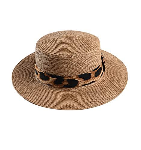 Leopard Print Band Straw Fedora Flat Top Wide Brim Summer Sun Hat for Women, Light Coffee (Print Straw Fedora)