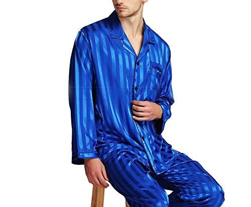 Set Notte L Raso Plus Pigiami Xl 2xl 3xl Pigiama Loungewear 4xl S Da Black Seta Striped Di M Blue Royal Uomo In 8BqCgxw55