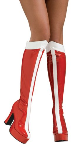 [Wonder Woman Officially Licensed Costume Boots, Red, Large] (Halloween Costumes Platform Shoes)