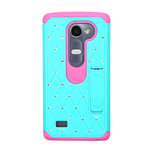 Asmyna Carrying Case for LG G4 - Retail Packaging - Hot Pink/Teal Green