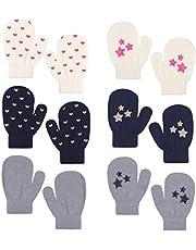 Peecabe Winter Mitten for Toddler Boy Knitted Mittens Kids Velvet Lining Gloves