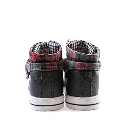 Xiafen Heren High-cut Mode-knop Lace-up Casual Enkellaarzen Schoenen Zwart / Rood