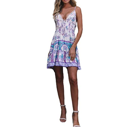 KESEELY Fashion Women Floral Dress - Casual Short Mini Dress V Neck Sexy Sundress Bohemian Beach Dress White