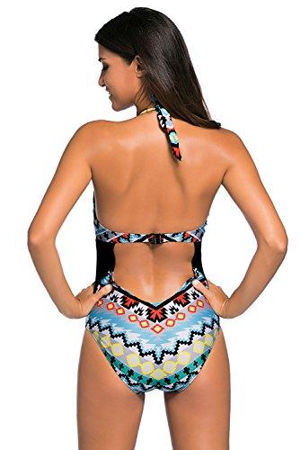 Nuovo motivo tribale stampa collo alto 1pezzo monokini bikini Swimwear estivo taglia UK 14EU 42