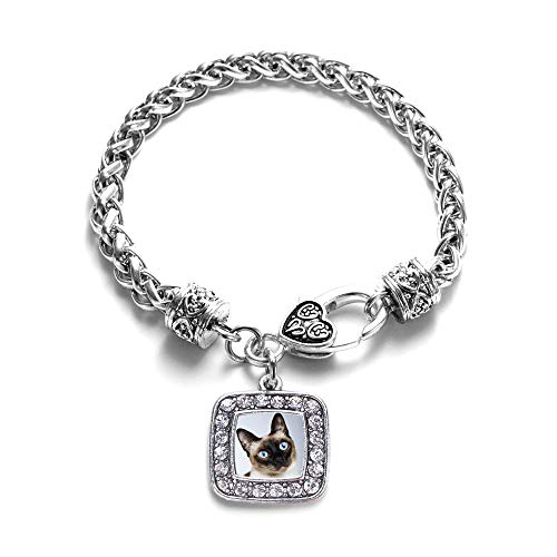 Inspired Silver - Siamese Cat Braided Bracelet for Women - Silver Square Charm Bracelet with Cubic Zirconia Jewelry ()