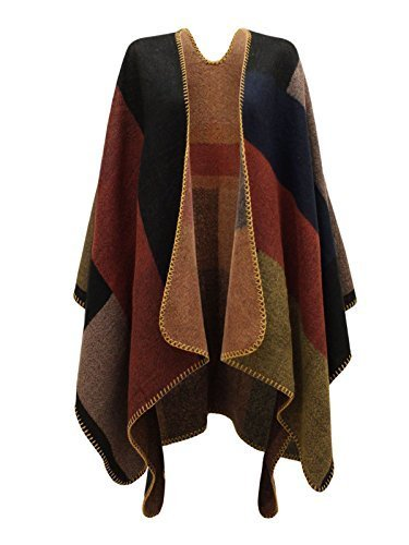 - Chaos Theory Women's Checked Knitted Winter Tartan Cape Stylished Poncho One Size Multi Colour