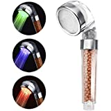 YOMYM LED Shower Head, Temperature Controlled High-Pressure & Showerhead, Negative Ionic Showerhead Double Filter Remove Heavy Metal Chlorine Prevention of Hair Loss and Dry Skin 3 Color Changing