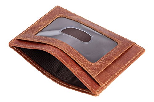 Travelambo Front Pocket Minimalist Leather Slim Wallet RFID Blocking Medium Size(vintage brown)
