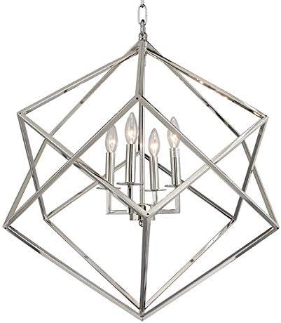 26.5 W x 29.5 H Cubist Large Chandelier 4 Light Multifaceted Frame Interlock Openwork Geometric Metal Pendant Lamp Dining Room Entry Living Room Polished Nickel