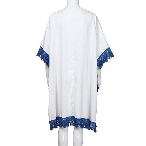 Nager Bikini URSING Crochet Robe cou Grande t Dcontracte au Jupe Genou V Blanc Imprim Femmes Blouse Chic Blouse Plage Taille ZrqwaTZ