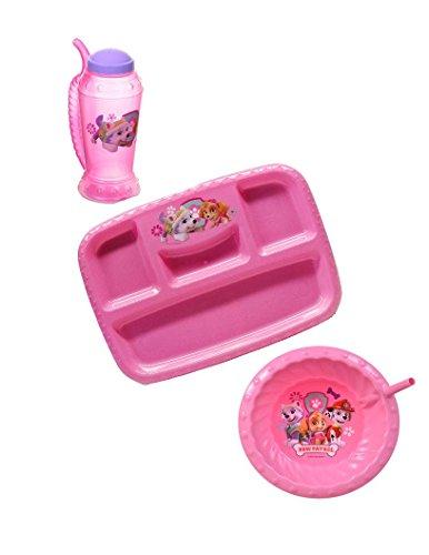 Pink Paw Patrol BPA Free Lunch Tray, Straw Bowl, and Plastic Sipper Straw 14.5oz Mug by Zak Designs Set by International