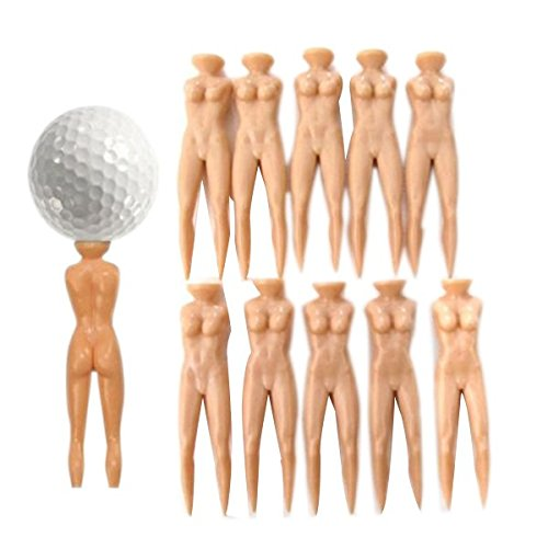 NUOLUX 10pcs Lady Golf Tees Novelty Divot Tools Plastic (Skin Color)