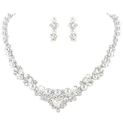 EVER FAITH Bridal Leaf Jewelry Set Clear Austrian Crystal Silver-Tone Simulated Pearl ()