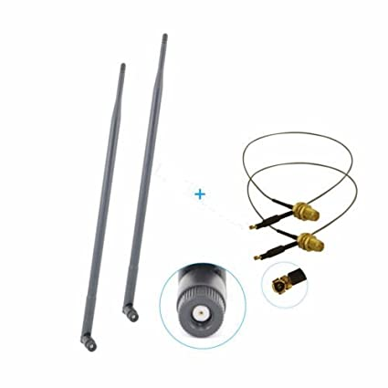 2 U.fl Cable for Belkin F7D8301 2 9dBi 2.4GHz 5GHz 5.8GHz RP-SMA WiFi Antennas