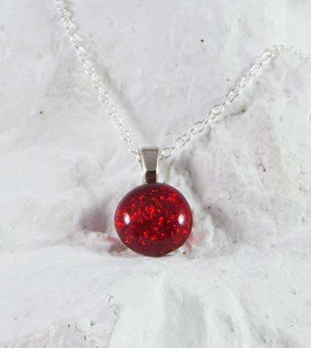 Dainty Dichroic Handcrafted Birthstone Fused Glass Pendant January Garnet w Necklace
