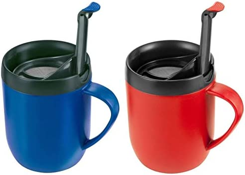 Pack Of 2 Zyliss Smart Cafe One Cup Coffee Cafetiere Cup Hot Mug Blue Red
