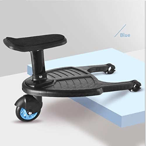 Zripool Baby Stroller Auxiliary Pedal Second Child Artifact Trailer Twins Baby Cart Two Children Standing Plate Sitting Seat Stroller Accessory (Blue) - Board Along Ride