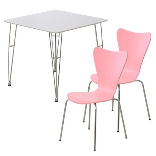 おしゃれでシンプル!ダイニング3点セット(テーブルホワイト)(チェアピンク)(テーブルとチェア2脚セット) B06WLH5KZ6 3点セット|ホワイト×ピンク ホワイト×ピンク 3点セット