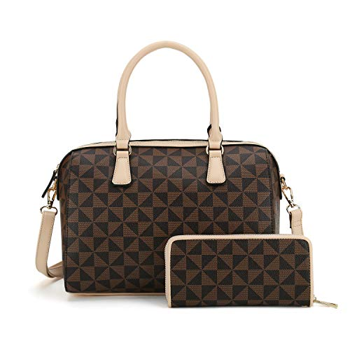 Satchel Purses and Handbags for Women Shoulder Tote Bags Wallets Top Handle Messenger Hobo 2pcs Set (Apricot 2827w)