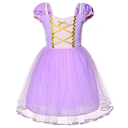 FEESHOW Toddler Baby Girls Rapunzel/Cinderella/Little Mermaid Princess Dress up Costumes Halloween Birthday Party Outfit Lavender 18 Months]()