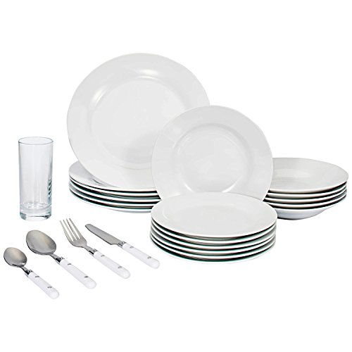 Set of 48-piece, Complete Dinner Set with Glasses and Silverware. Service for 6. Perfect for moving