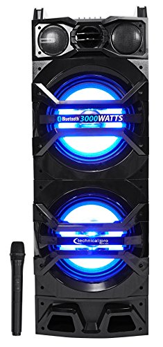 Technical Pro Dual 10'' Powered 1500w Bluetooth Speaker w/USB/SD/LED+Wireless Mic by Technical Pro