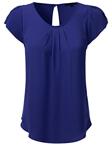 JJ Perfection Women's Woven Petal Short Sleeve Blouse Royal 2XL