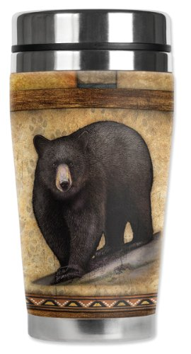 Mugzie Black Bear Travel Mug with Insulated Wetsuit Cover, 16 oz, Brown