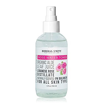 Herbal Unity - Organic Rose Water Face Toner - All Natural Formula - No Alcohol - With Aloe Vera - Witch Hazel - Clear & Tighten Pores - Gentle Facial Mist Moisturizer (Alcohol Toner Gentle Free)