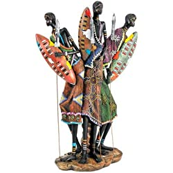 Design Toscano 16 in. Zulu Warriors of Kenya