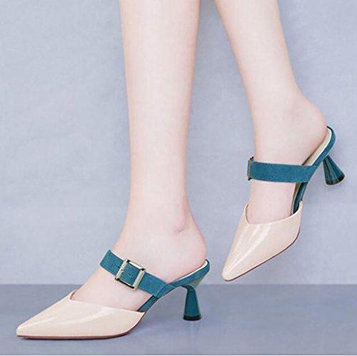 FAFZ Zapatillas medias Baotou sandalias finas de verano femeninas usan elegantes zapatos perezosos sandalias de tacón alto y zapatillas Sandalias planas,Sandalias de moda (Color : A, Tamaño : 38) B