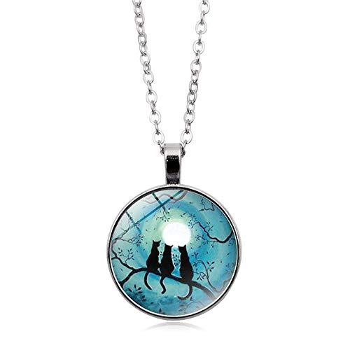 Water Hep Glow Necklace Galaxy Blue Moon Glowing Cat Necklace Art Photo Glass Dome Cabochon Pendant Silver Chain Necklace Glow in The Dark Jewelry YG0020 Blue Moon Art Glass Pendant