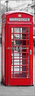 Stickersnews - Sticker de porte trompe l oeil cabine téléphonique anglaise 73x204cm réf 583