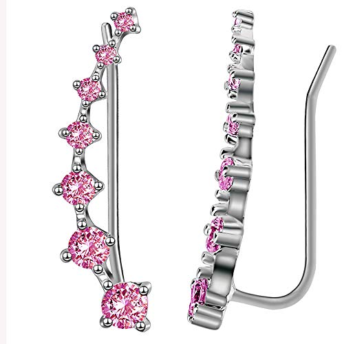 - Sterling Silver Sweep up Ear Pin Crawler Cuff Wrap Climber Earrings with 7 CZ Stones (Pink)