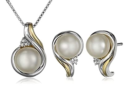 "Sterling Silver, 14k Yellow Gold, Freshwater Cultured Pearl, and Diamond Accent Pendant Necklace (18"") and Earrings Set"