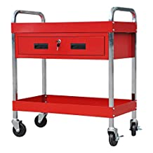 3 Tray Depth Tool Cart 350 LBS Capacity Service Cart Steel Sliding Drawer Tool Box Cart with Swivel 360° Wheels ,Red