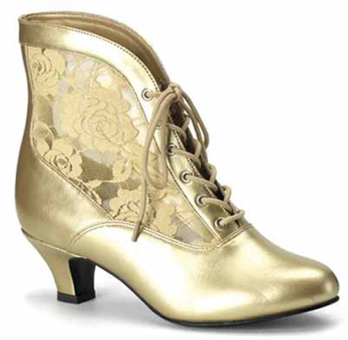 Victorian Shoes Granny Boots Lace Accent Saloon Girl Shoes 05 Gold