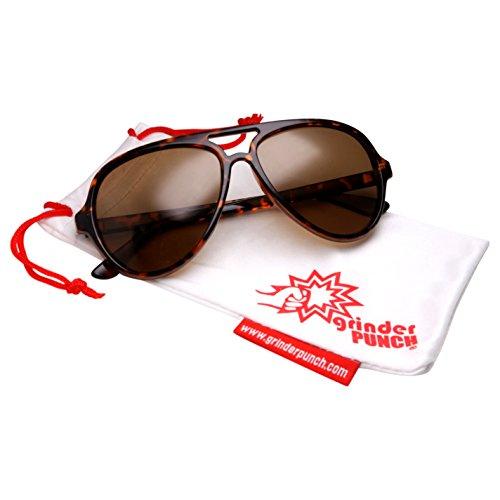grinderPUNCH Polarized Aviator Sunglasses for Men with Plastic Frame Tortoise