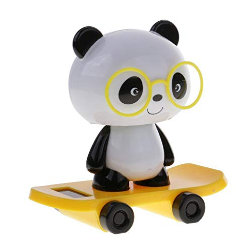 (TOOGOO Solar Energy Toy Animal Model Skateboard Balance Flip Flap Gift Home Office Car Decoration - Yellow, Panda )