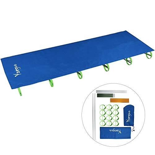 Yaegoo Folding Camping Cot Moisture-Proof Camp Cot Ultralight Portable Aluminum Alloy Picnic Off Ground Folding Bed (Blue)