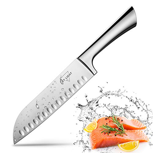 Santoku Knife Kitchen Knife Japanese Chef Knife Sushi Knife 7 Inch Hollow Edge Forged Blade German HC Stainless Steel with Ergonomic Handle for Home and Restaurant (Silver) - Chefs Stainless Steel Chefs Knife