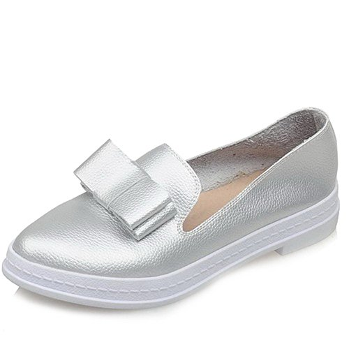 VogueZone009 Women's Pull-on Low-Heels PU Solid Round Closed Toe Pumps-Shoes Silver B9gnd