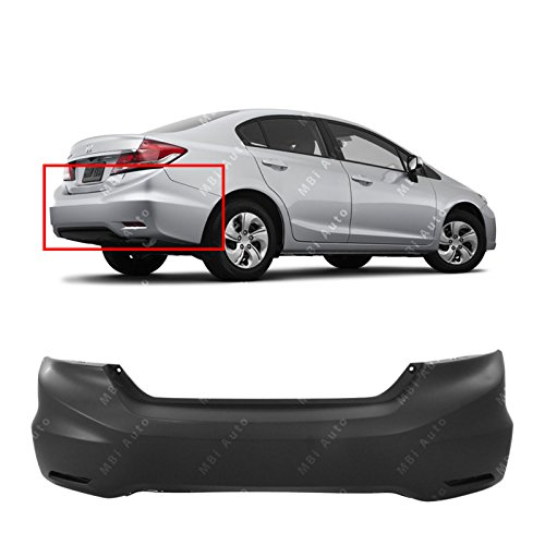 MBI AUTO - Primered, Rear Bumper Cover for 2013-2015 Honda Civic Sedan/Hybrid 13-15, HO1100278
