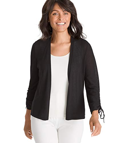 Chico's Women's Ruched-Sleeve Cardigan Size 20/22 XXL (4) Black