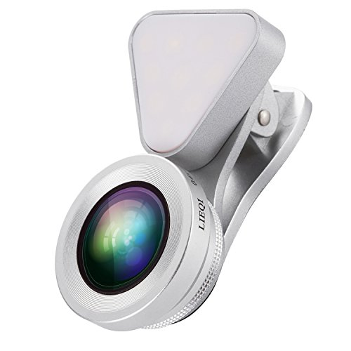 MeriCino Camera Lens for iPhone with Fill Light, Clip-on Lens Kit with Selfie Ring Light, LED Light, 140°Wide Angle, 15X Macro Lens for iPhone 7/6s plus, Samsung, Most - Where Fixed Your Get Glasses To