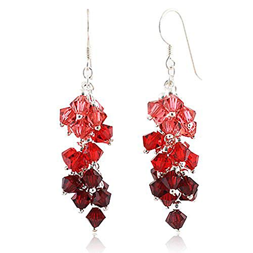 925 Sterling Silver Red Faceted Crystal Beads Dangle Hook Earrings