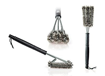 Expert Grillers - Barbecue Grill Brush - Perfect for your Char-Broil Grill - 3 in 1 Stainless Steel Bristles - Perfect Cleaner for Grill Cooking Grates and Racks by Expert Grillers