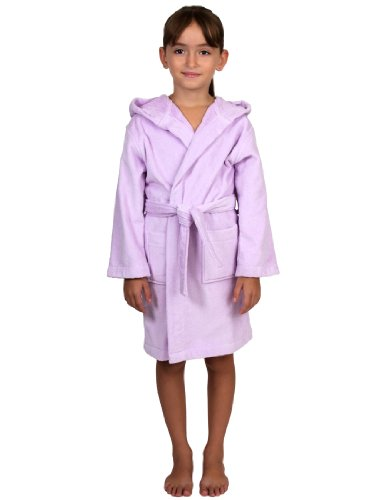 TowelSelections Little Girls' Turkish Cotton Hooded Terry Velour Kids Bathrobe Cover-up Size 4 Lavender ()