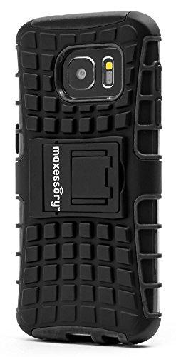 Samsung Galaxy S7 Case, Maxessory Offroad Shock-Proof Rugged Dual-Layer Armor Rigid Ultra-Slim Kickstand Protective Hard Tough Hybrid Phone Cover Shell Black For Samsung Galaxy S7 (Case Rubberized Cover Hardback)
